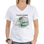 Usenet Junkie #1 Women's V-Neck T-Shirt