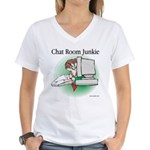 Chat Room Junkie #1 Women's V-Neck T-Shirt