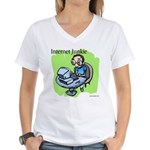 """Internet Junkie"" #3 Women's V-Neck T-Shirt"