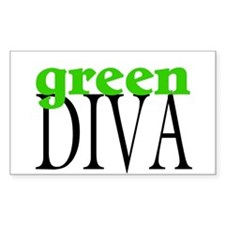 Green Diva Rectangle Decal