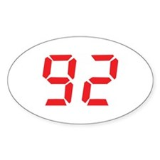 92 ninty-two red alarm clock Oval Decal