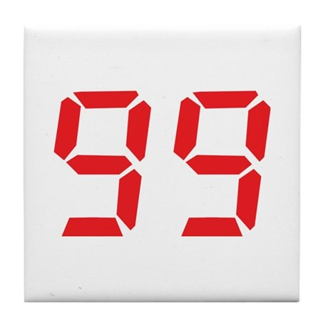 99 ninty-nine red alarm clock Tile Coaster