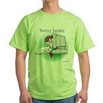 Twitter Junkie 1 Green T-Shirt