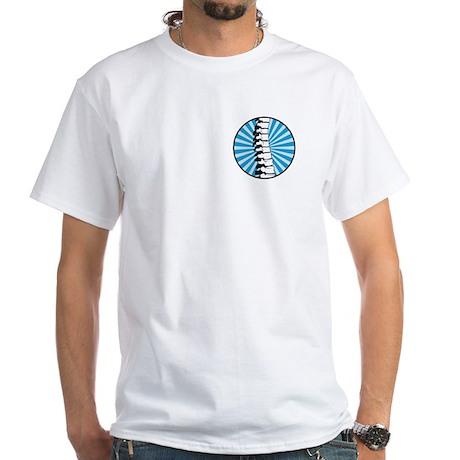 Blue Burst Spine White T-Shirt