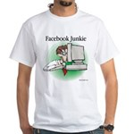Facebook Junkie 1 White T-Shirt