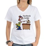 Facebook Junkie 2 Women's V-Neck T-Shirt
