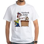 Facebook Junkie 2 White T-Shirt