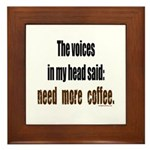 Coffee voices in my head Framed Tile
