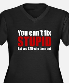 You Can't Fix Stupid Women's Plus Size V-Neck Dark