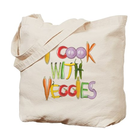 I Cook With Veggies canvas tote bag