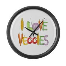 I Love Veggies large wall clock