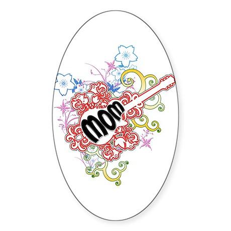 Mom Rocks Oval Sticker
