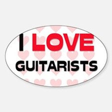 I LOVE GUITARISTS Oval Decal