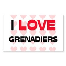 I LOVE GRENADIERS Rectangle Decal