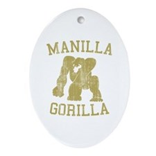 manilla gorilla mohammed ali retro Oval Ornament
