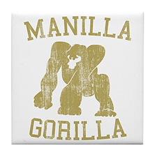 manilla gorilla mohammed ali retro Tile Coaster