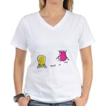 S&O Yellow/Pink Women's V-Neck T-Shirt