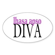 Lhasa Apso Diva Oval Decal