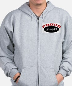 Proud Grandpa (red and black) Zip Hoodie