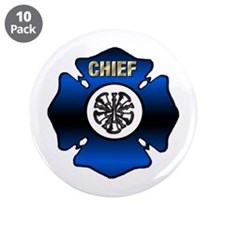 """Fire Chief Gold Maltese Cross 3.5"""" Button (10 pack"""