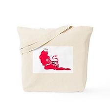 Red Silhouette Tattooed Devil Tote Bag