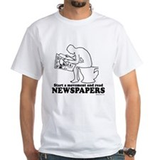 Read Newspapers, start a movement ~ White T-shirt