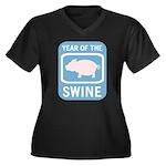 Year of the Swine Women's Plus Size V-Neck Dark T-