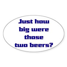 Two beers Oval Sticker (10 pk)
