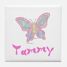Pink Butterfly Tammy Tile Coaster