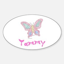 Pink Butterfly Tammy Oval Decal