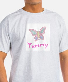Pink Butterfly Tammy Ash Grey T-Shirt
