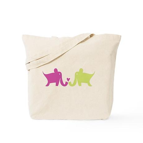 Elephants Tote Bag - lil omm logo on back