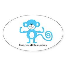 Blue Tenacious Little Monkey Oval Decal