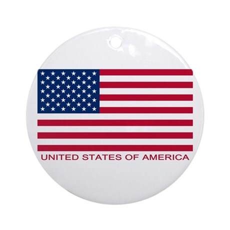 American Flag (labeled) Ornament (Round)