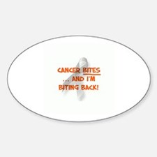 Cancer bites, hazard orange Oval Decal