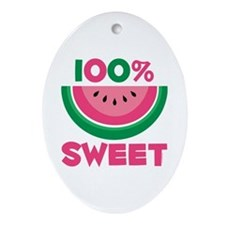 100% Sweet Watermelon Oval Ornament