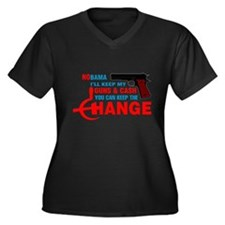 Keep The Change Women's Plus Size V-Neck Dark T-Sh
