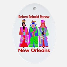 Rebuild New Orleans Art Oval Ornament