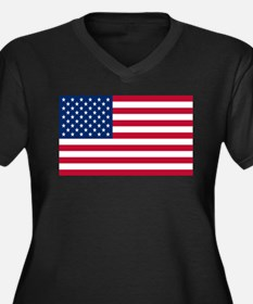 American Flag Women's Plus Size V-Neck Dark T-Shir