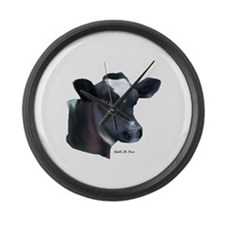 Red and white holstein calf Large Wall Clock