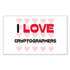 I LOVE CRYPTOGRAPHERS Rectangle Decal