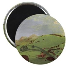 "Buffalo Chase by George Catlin 2.25"" Magnet (10 pa"