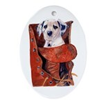 Dalmation in Boot Oval Ornament
