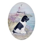 Landseer Newfoundland by Lighthouse Ornament(Oval)