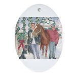 Landseer Newfoundland and Horse Oval Ornament
