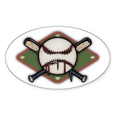 Ball & Crossbats 1 Oval Decal