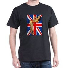 Pin-up Girl Against British Flag T-Shirt