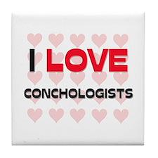 I LOVE CONCHOLOGISTS Tile Coaster