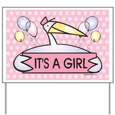 It's a Girl! Stork Baby Announcement Yard Sign