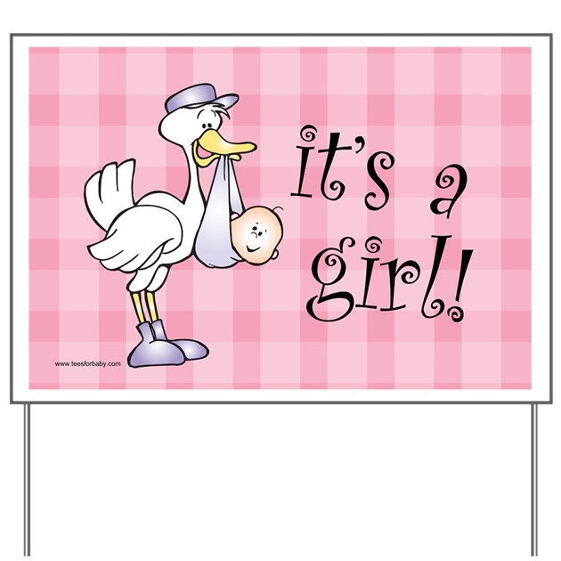 Pink Gingham It S A Girl Baby Announcement Sign By